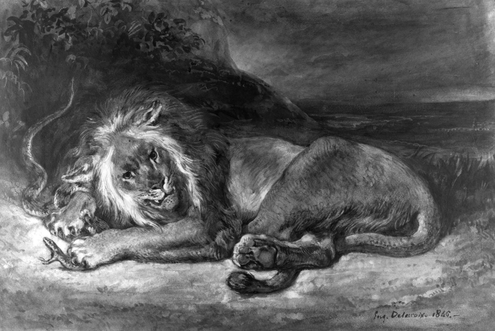 Eugène_Delacroix_-_Lion_and_Snake_-_Walters_371219